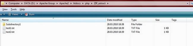 Выбранные файлы, извлеченные из archive2 в назначеный каталог ZIP_TEST